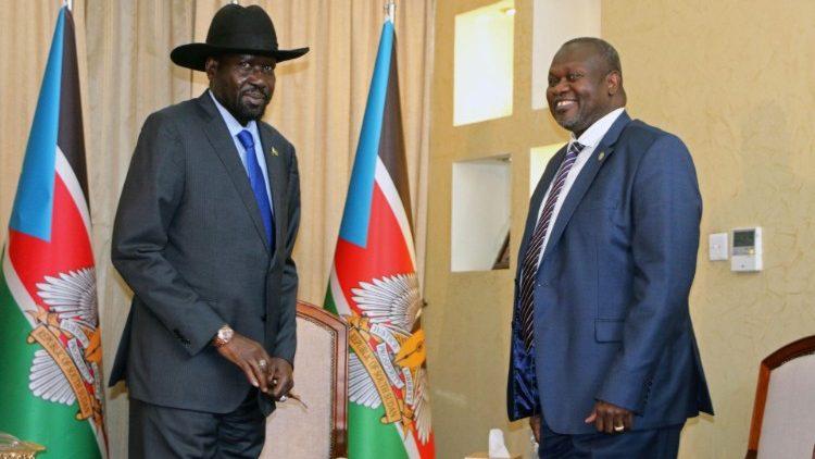South Sudan's President Salva Kiir Mayardit and former Vice Pesident and rebel leader Riek Machar, recently, in Juba  (PETERLOUIS)