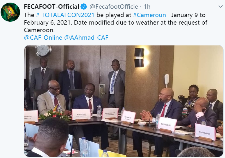 AFCON 2021 will be played in the month of January and not June like in 2019