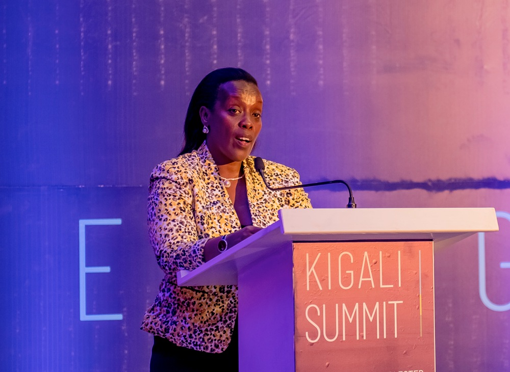 Rwanda's Minister of Health, Dr Diane Gashumba, speaks at a meeting to launch the Kigali Summit on Malaria and NTDs expected in June 2020 on the sidelines of CHOGM 2020.