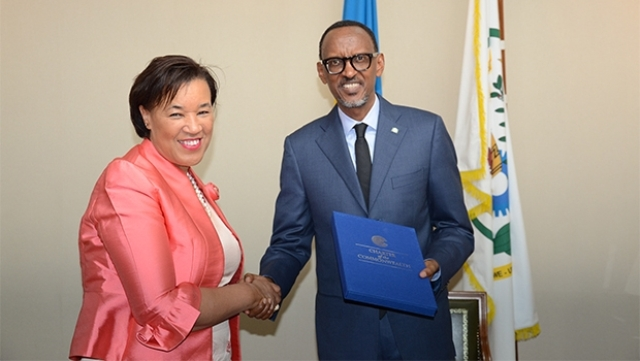 [Photo: Secretary-General Patricia Scotland and President Paul Kagame - Commonwealth Secretariat]