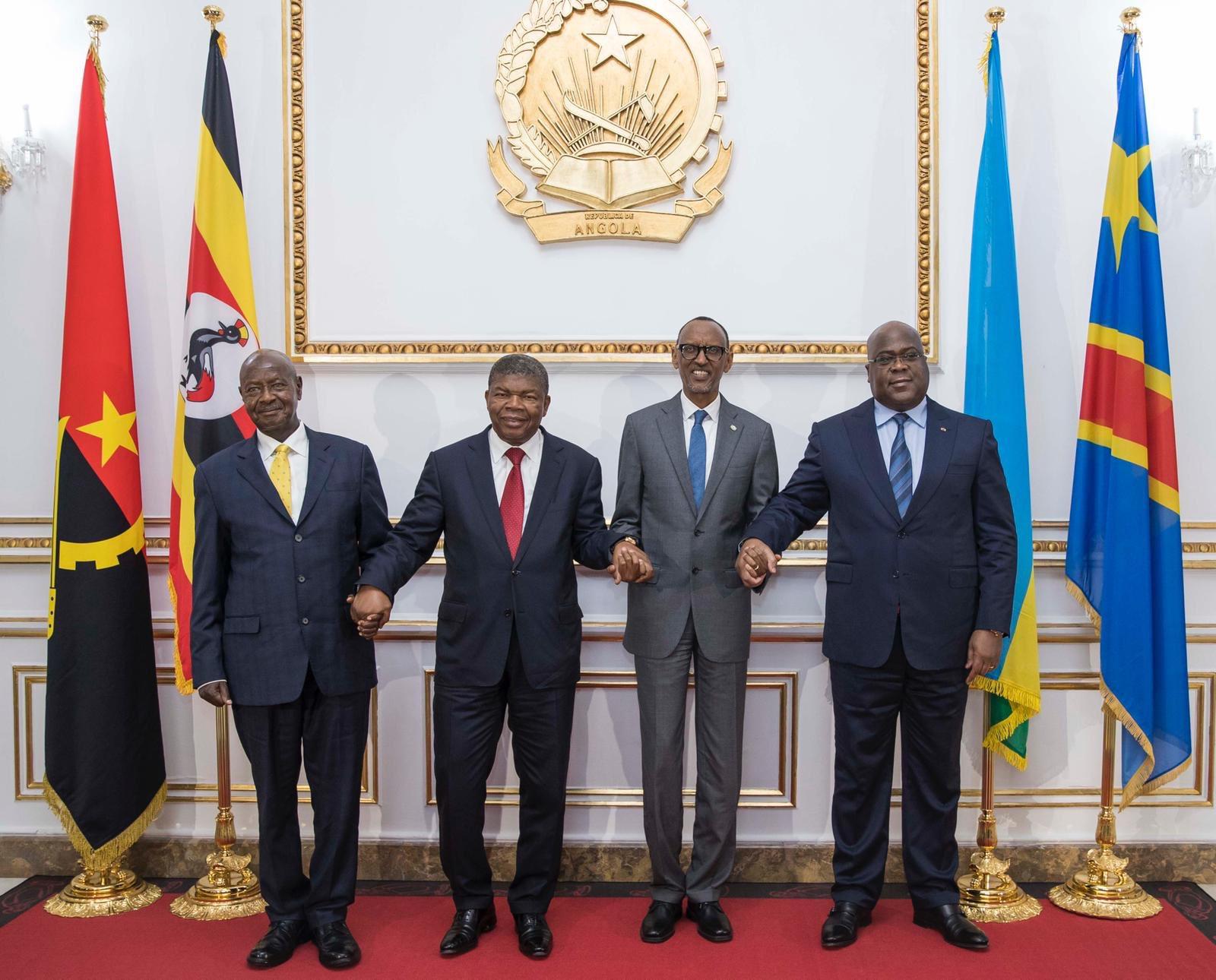 From left, President Museveni of Uganda, president João Lourenço of Angola, president Kagame of Rwanda and president Félix Tshisekedi of Democratic Republic of Congo.