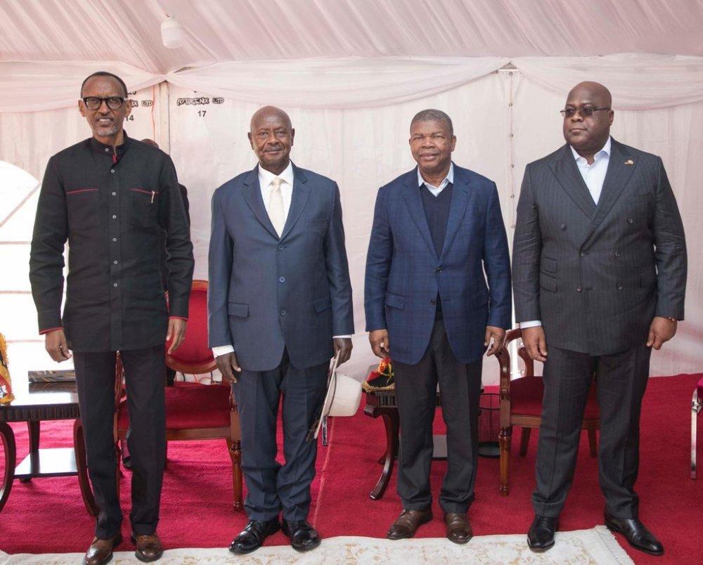 From left President Paul Kagame, President Yoweri Museveni, President João Lourenço and President Félix Tshisekedi