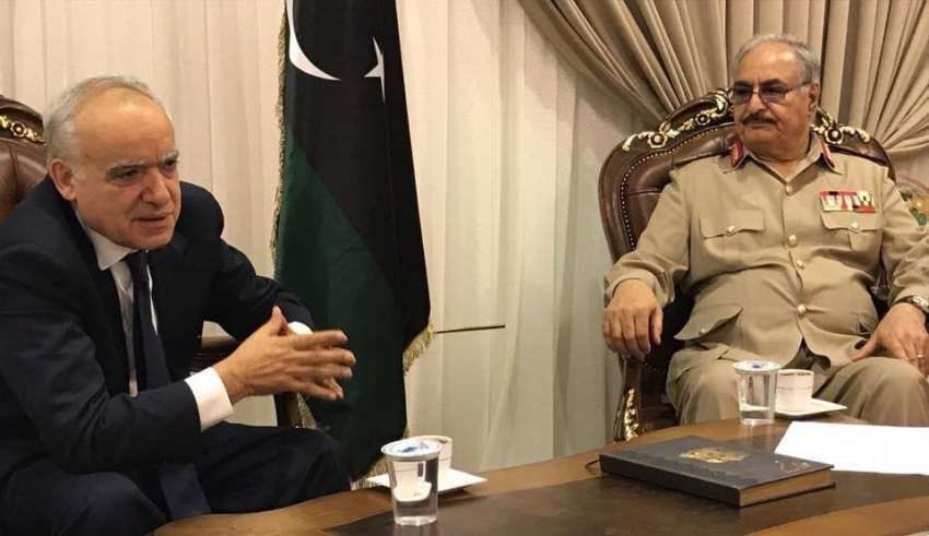 Head of the United Nations Support Mission in Libya Ghassan Salame with Libyan Army Commander Field Marshal Khalifa Haftar.Photo credit Libya Live