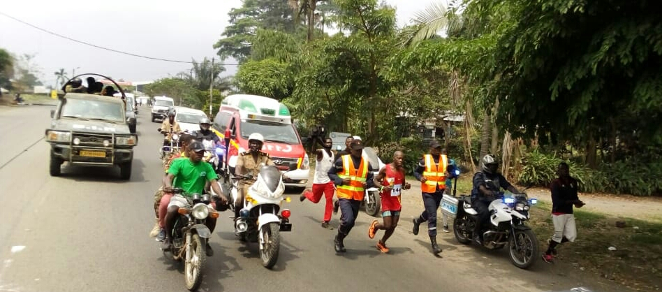 Gabsibuin Godlove runs to collect FCFA 10 millionn as winner of the Mount Cameroon race of Hope, his fifth victory