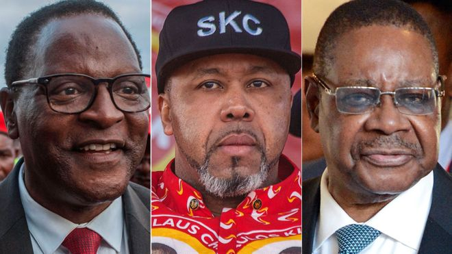Back to the starting blocks for President Peter Mutharika (right), Lazarus Chakwera (left), and Saulos Chilima (centre) .Photo credit AFP