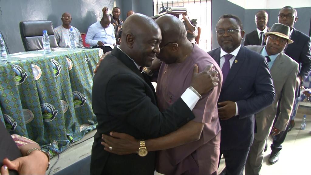 Mayor-elect Mafani Namange greeted by Andrew Motanga Monjimba