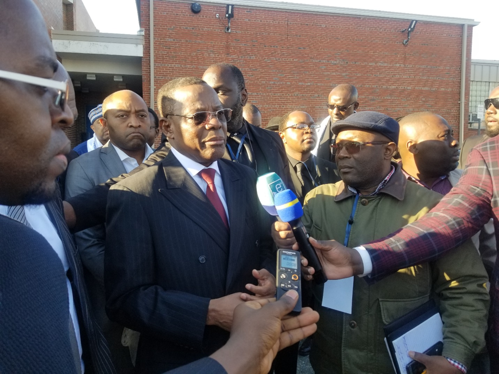 Talking to the press, Maurice Kamto thank Cameroonians for massively boycotting the legislative and municipal election (Photo: Amos Fofung for Pan African Visions)