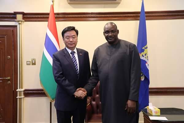 Chinese Ambassador in The Gambia Ma Jianchun  with President Barrow at State House