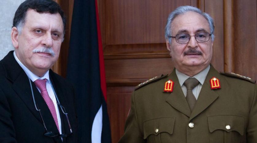 Head of the Libyan GNA Fayez al-Sarraj (L) and commander of the LNA Khalifa Haftar. (AFP)