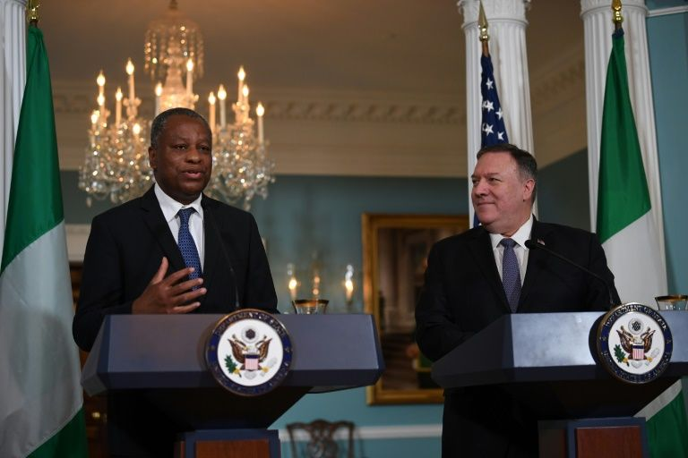 US Secretary of State Mike Pompeo and Nigerian Foreign Minister Geoffrey Onyeama deliver statements to the press after talks that included discussion of a visa row (AFP Photo/Eric BARADAT)
