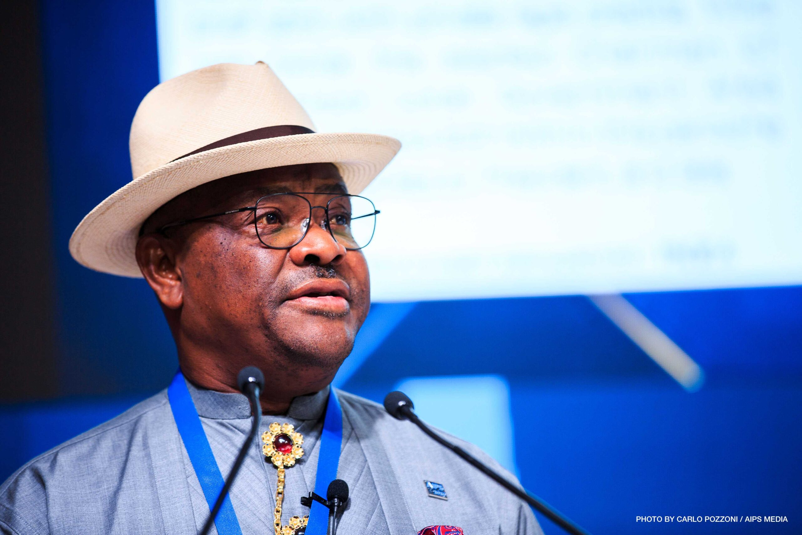 Governor of Rivers State, Nigeria, Nyesom Ezenwo Wike speaking on the opening day of the 83rd AIPS Congress on February 4, 2020. (Photo by Carlo Pozzoni/AIPS Media)