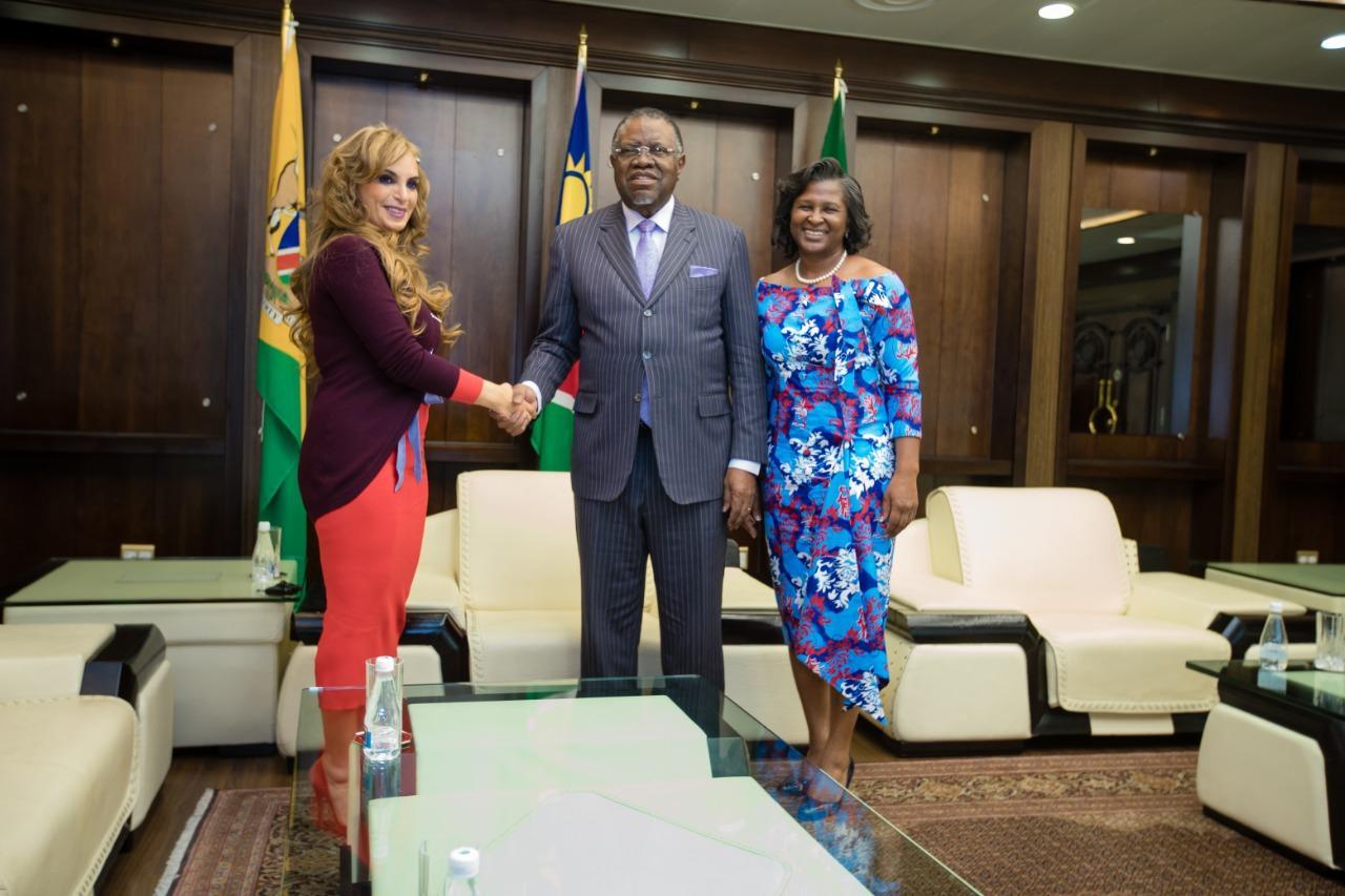 Dr. Rasha Kelej, CEO of Merck Foundation & President, Merck More Than a Mother with H:E President Hage Geingob and H.E. MONICA GEINGOS, The First Lady of Namibia & Ambassador of Merck More Than a Mother