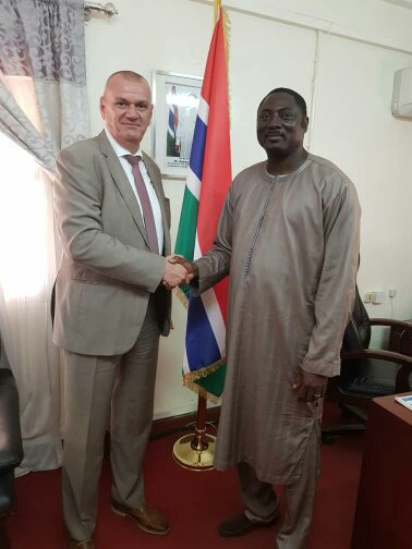 Ambassador Attila LAJOS, the EU Head of Delegation with Gambian Foreign Minister Dr Mamadou Tangara, Photo credit Fatu Network