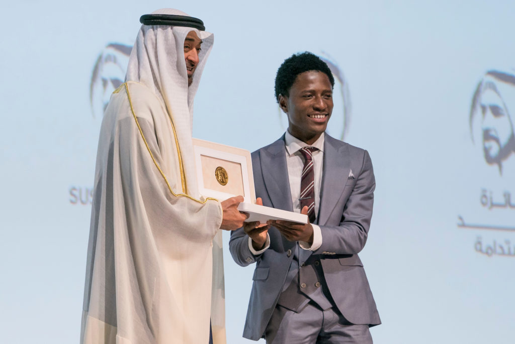 HH Sheikh Mohamed Bin Zayed with the winner from the Okuafo Foundation -...