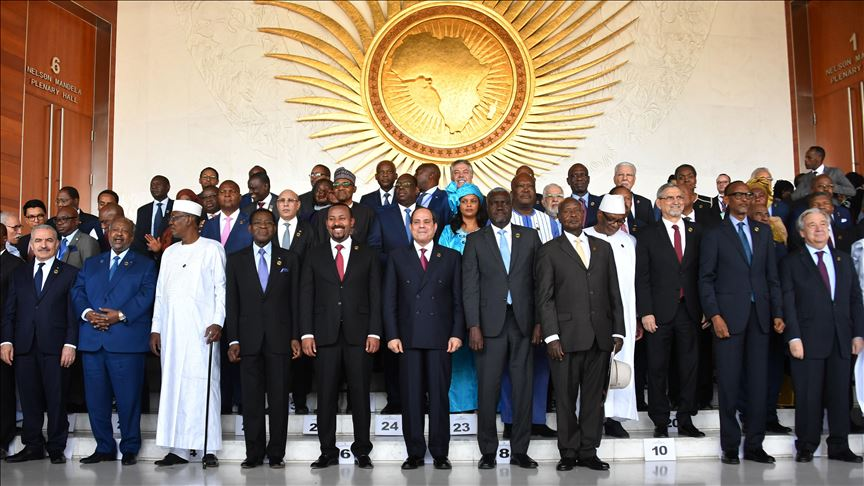 Participant leaders take part in a family photo at the African Union headquarters during the 33rd African Union Heads of State Summit in Addis Ababa, Ethiopia on February 09, 2020.