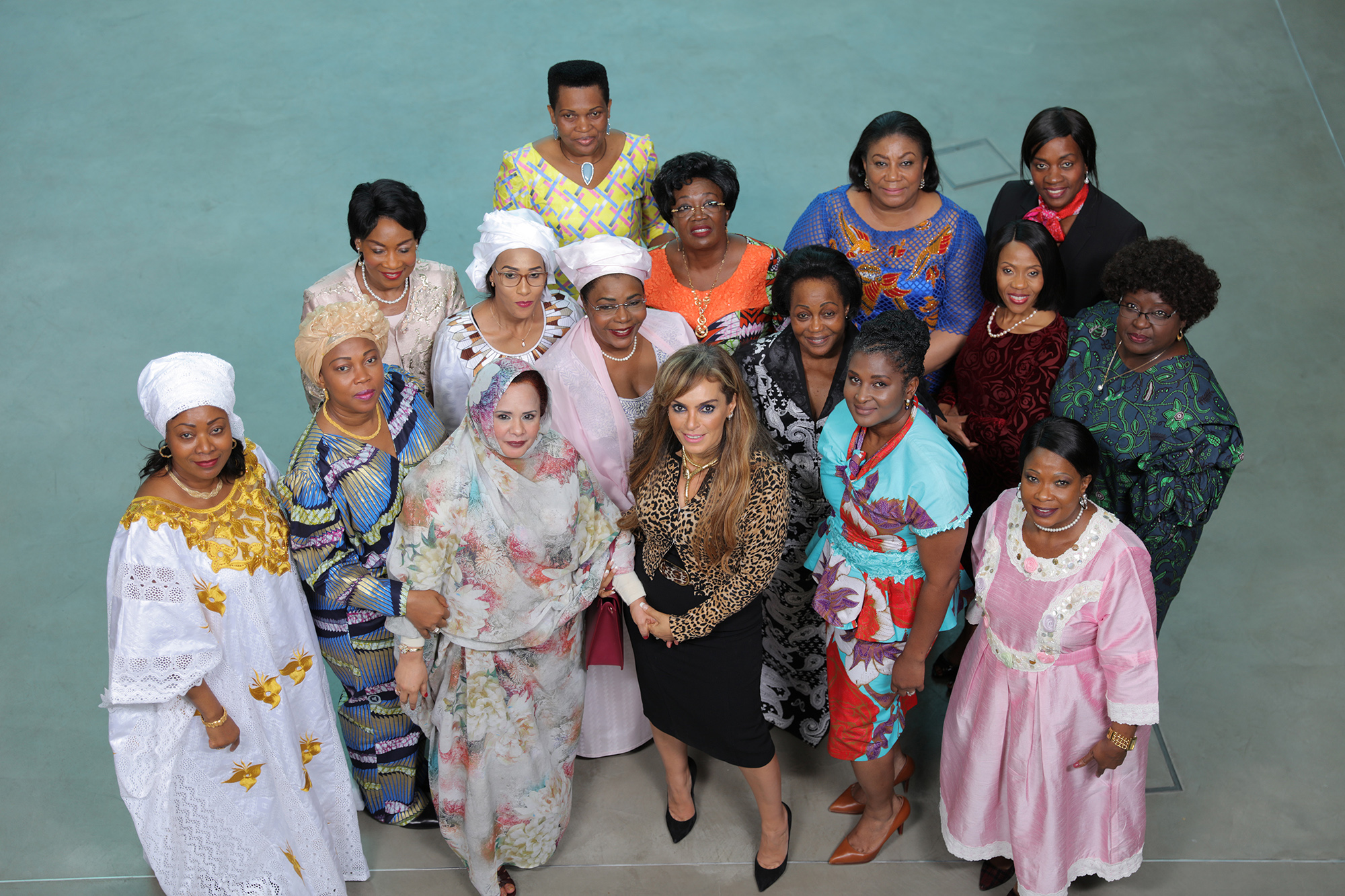 Dr. Rasha Kelej, CEO of Merck Foundation with H.E. CONDÉ DJENE, The First Lady of Guinea Conakry; H.E FATIMA MAADA, The First Lady of Sierra Leone; H.E. PROFESSOR GERTRUDE MUTHARIKA, The First Lady of Malawi; H.E. FATOUMATTA BAH-BARROW, The First Lady of The Gambia; H.E DENISE NKURUNZIZA, The First Lady of Burundi; H.E AÏSSATA ISSOUFOU MAHAMADO, The First Lady of Niger; H.E. BRIGITTE TOUADERA, The First Lady of Central African Republic; H.E. REBECCA AKUFO-ADDO, The First Lady of Ghana; H.E. CLAR WEAH, The First Lady of Republic of Liberia; H.E. ANTOINETTE SASSOU-NGUESSO, The First Lady of Congo Brazzaville; H.E. MONICA GEINGOS, The First Lady of Namibia; H.E. AUXILLIA MNANGAGW, The First Lady of Zimbabwe; H.E. NEO JANE MASISI, The First Lady of Botswana; H.E. DR. ISAURA FERRÃO NYUSI, The First Lady of Mozambique and Former First Lady of Mauritania