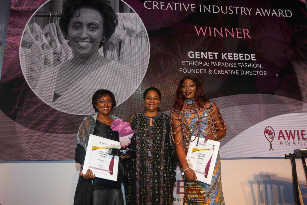 L-R Genet Kebede - AWIEF Creative Industry Award winner 2019, Arunma Oteh - former VP & Treasurer, World Bank and Abby Ikomi, AWIEF Creative Industry Award Finalist 2019