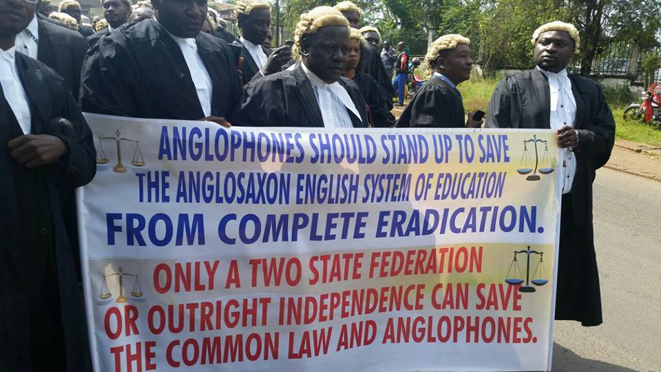 Lawyers in protest against sustained attempts by the government to destroy and eradicate the common law system and Anglo-saxon system of education