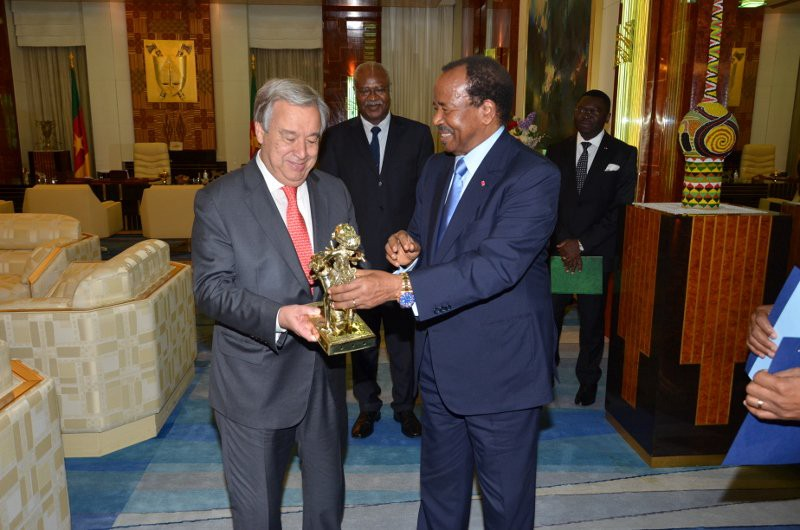 Antonio Guterres taking golden gift from Paul Biya, 27 Oct 2017.The international community has been shockingly passive on the Southern Cameroons case and the pitiable plight of its people