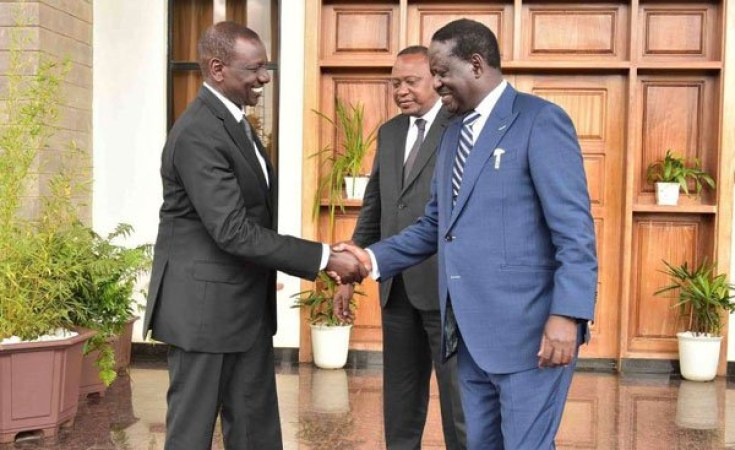 President Uhuru Kenyatta (centre), Deputy President William Ruto (left) and ODM leader Raila Odinga . Deputy President Ruto may be the big loser in the high stakes political games with corruption charges against him and his associates gaining steam