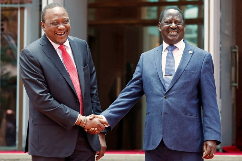 President Uhuru Kenyatta and opposition leader Raila Odinga have been moving in sync since the famous handshake. The playbook could help leaders in other African countries to diffuse political tensions, says Samuel Omwenga. Photo credit REUTERS/Thomas Mukoya/