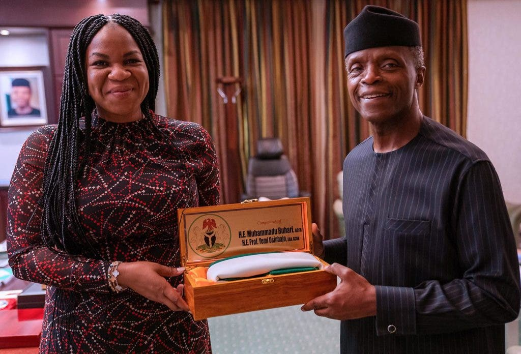 Damilola Ogunbiyi, CEO and Special Representative of the UN Secretary-General for Sustainable Energy for All and Co-Chair of UN-Energy with the Vice President of Nigeria Yemi Osinbajo