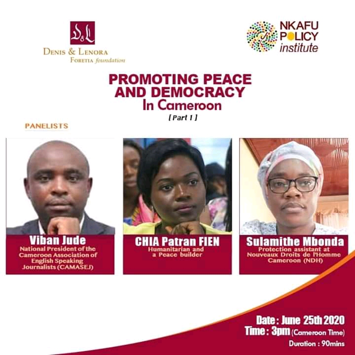 Panelists for the first edition of the Nkafu Policy Institute's webinar on promoting peace and Democracy in Cameroon