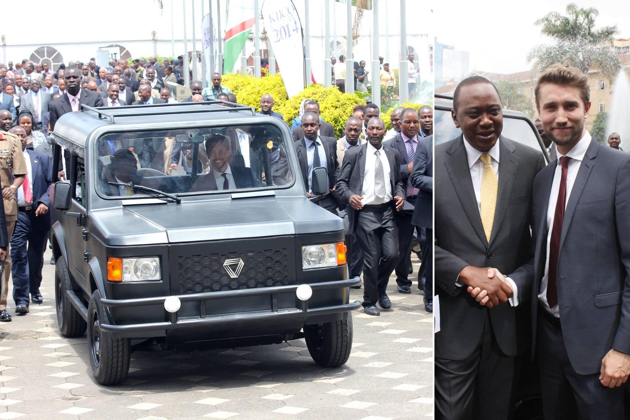 Kenyan President Uhuru Kenyatta had a special test drive of a Mobius car in 2014