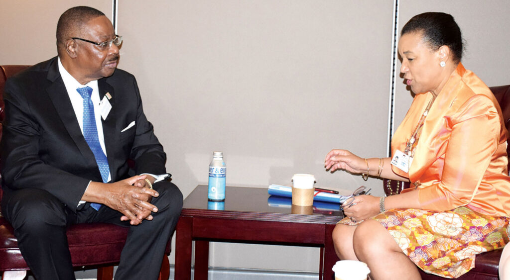 Incumbent President Peter Mutharika with Commonwealth Sec Gen Patricia Scotland