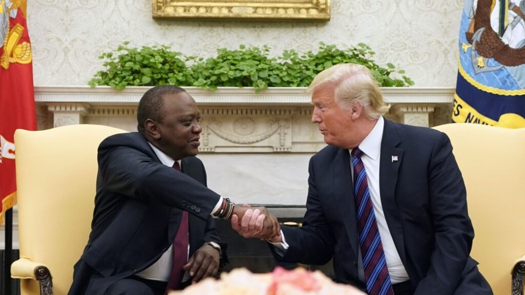 Kenya President in a handshake with U.S. President during a 2018  Washington DC meeting (Photo: MANDEL NGAN/AFP via Getty Images)