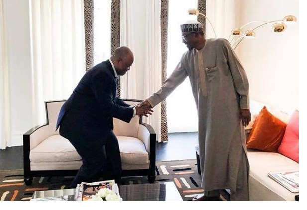 Godswill Akpabio, with President Muhammadu Buhari in London, United Kingdom