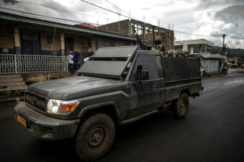 Cameroon security forces patrolling the streets of Buea