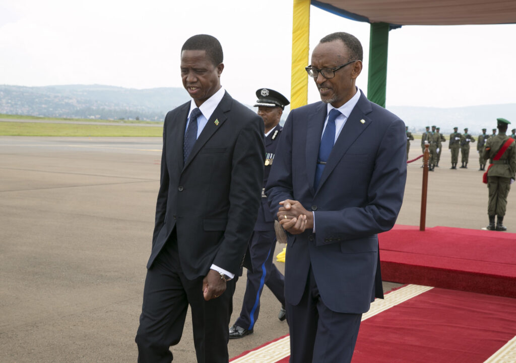 President Lungu (left) chatting with President Paul Kagame of Rwanda during his official visit to Rwanda in February 2018