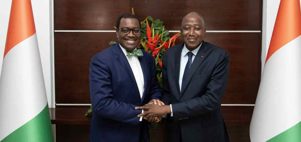 AFDB President Akinwumi Adesina with Prime Minister Amadou Gon Coulibaly