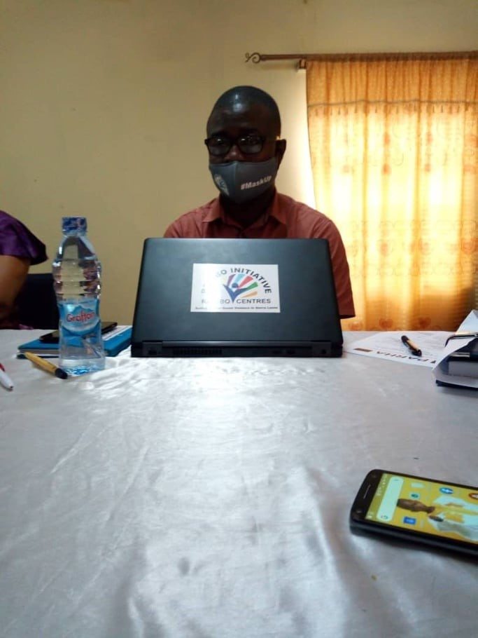 Deputy Executive Director ,Gibril Kargbo speaking yesterday at Civil service Training College , Tower Hill , Freetown