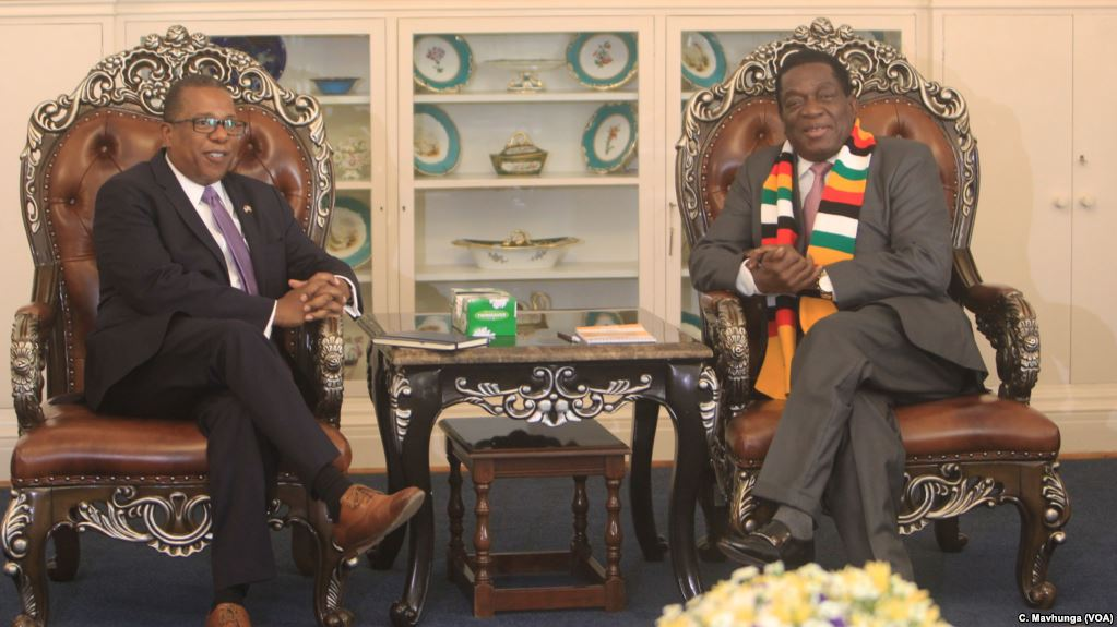 Zimbabwe President Emmerson Mnangagwa is meeting with United States Ambassador to Zimbabwe Mr Brian Nichols at the State House in Harare
