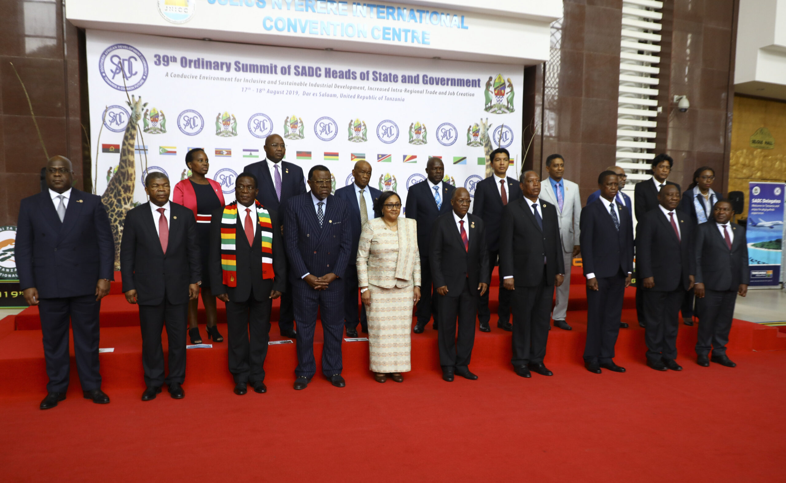 SADC leaders pose for a group photo the 2019 39th Ordinary Summit in Tanzania.Photo credit Xinhua