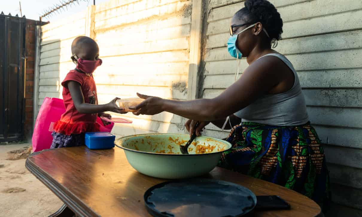 Samantha has provided food to people in thousands during the lockdown in Zimbabwe.Photo credit Jekesai Njikizana,AFP,Getty Images