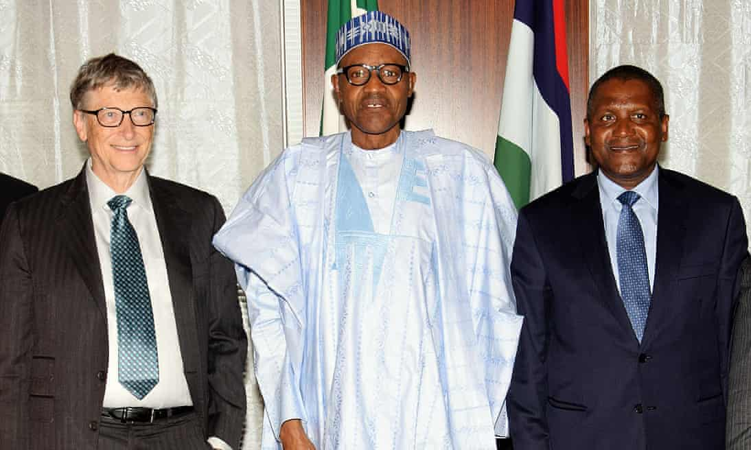 Nigerian President Mohammadu Buhari with Bill Gates, left, and Aliko Dangote.Photo: Philip Ojisua/AFP/Getty Images