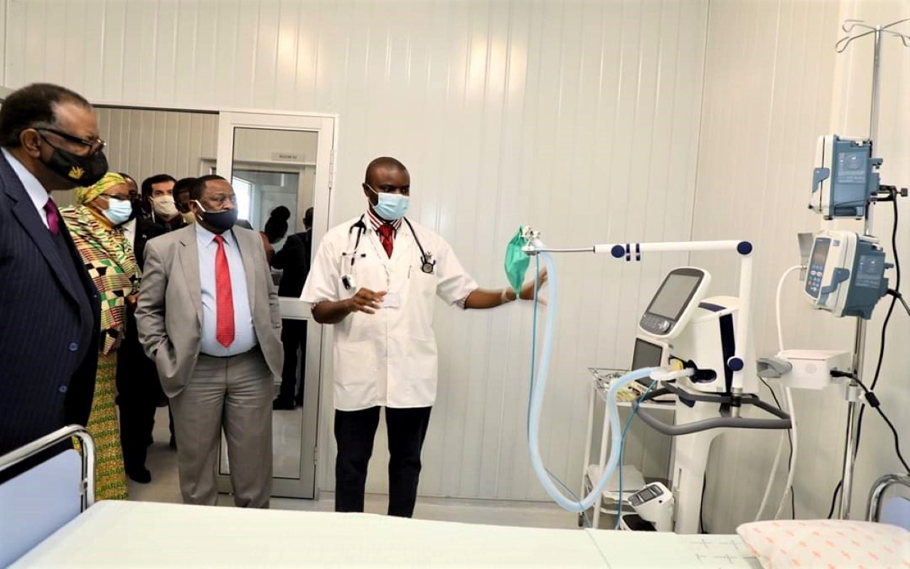 President Hage Geingob Commissioning COVID-19 treatment facilities in Windhoek, Namibia.Photo credit WHO