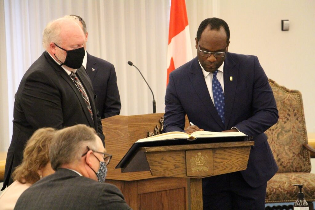 Kaycee Madu during his swearing in ceremony