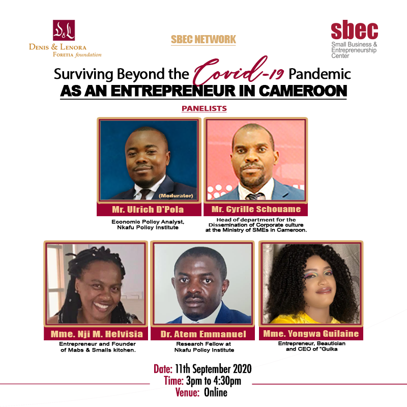 Participants at the SBE Webinar on Surviving Beyond the COVID 19 Pandemic as an Entrepreneur in Cameroon