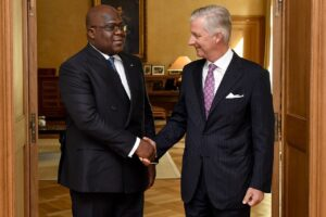 King Philippe and Congolese President Felix Tshisekedi in 2019. The Belgium monarch has referred to the colonial past as cruel and violent . photo credit Belga