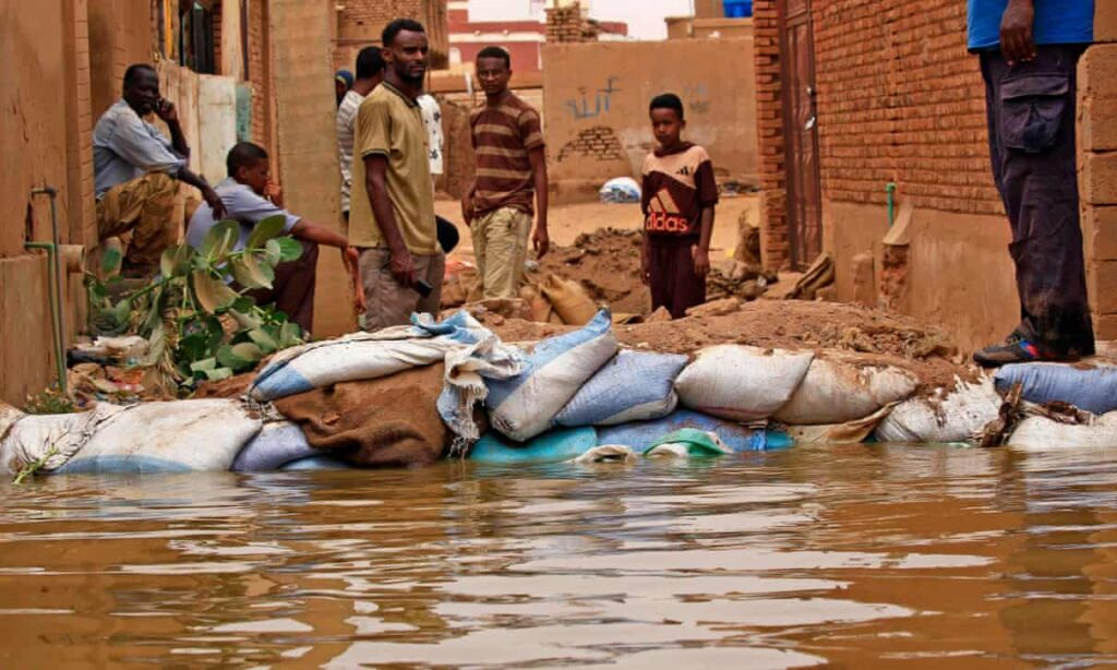 A barricade against flood waters in Tuti island, where the Blue and White Nile merge in the Sudanese capital, Khartoum. Photograph: Ashraf Shazly/AFP/Getty Images