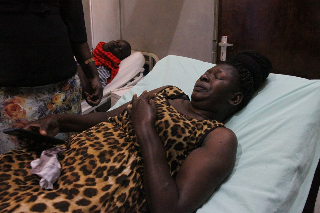 Hon. Mary Ogodo while in hospital with her left broken arm. Photo credit MN News