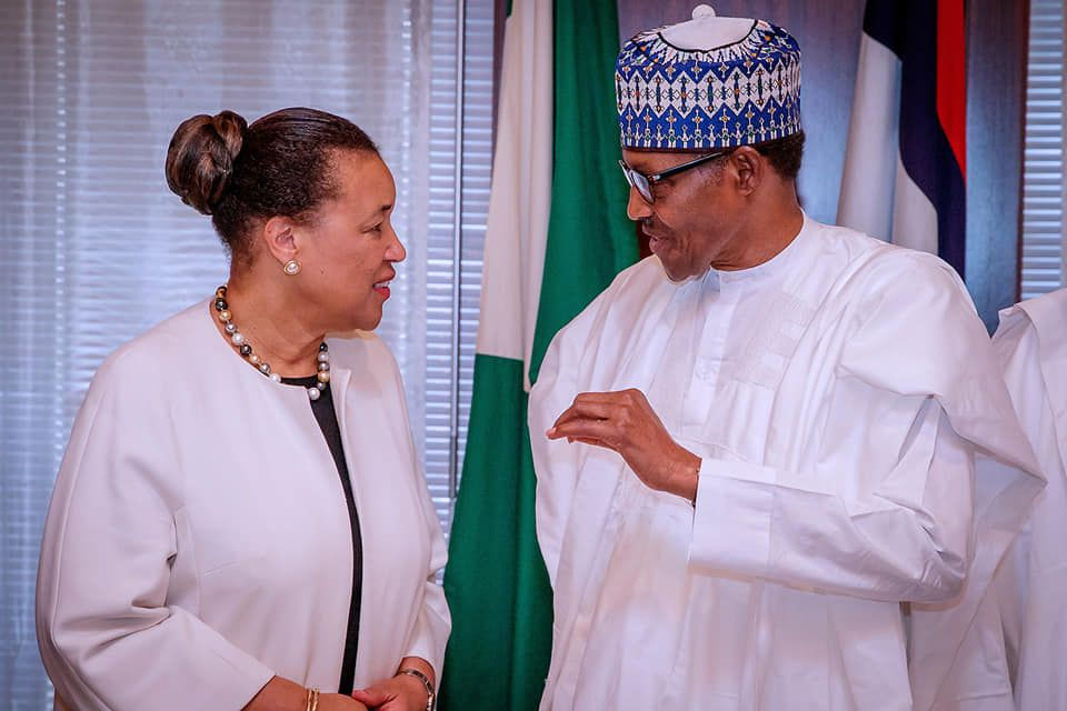 Commonwealth Secretary-General Patricia Scotland with President Buhari of Nigeria