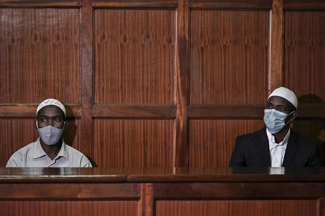 Mohamed Ahmed Abdi, right, and his co-accused Hassan Hussein Mustafa stood accused of being accessories in the Westgate Mall attack of September 2013, Nairobi, October 30, 2020. (AFP)