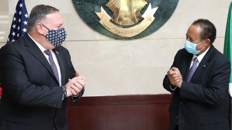 Prime Minister Abdalla Hamdok with Mike Pompeo during the first visit to Sudan of a US Secretary of State in 15 years.Photo courtesy