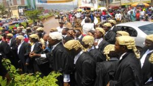 Cameroon lawyers protest protest the perceived marginalization and interference with the Anglo-Saxon system of law amongst other things in 2016. File photo