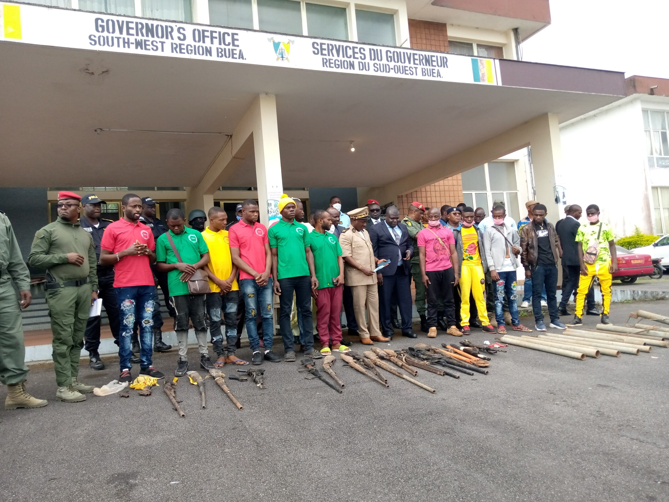 Ex-Separatist Fighters (mostly in Green, Red and Yellow t-shirt) present weapons used for the armed struggle
